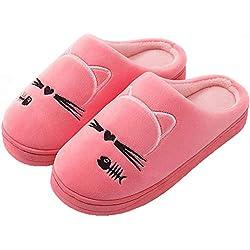 GAXmi Pantuflas Gato Mujer Hombre Zapatillas de Estar por Casa Invierno Caliente Suave Interior Antideslizantes Rojo 35/36 EU (Tamaño de la Etiqueta 36/37)