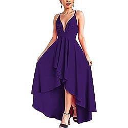 Abravo Mujer Vestidos Fiesta Sin Manga Encaje para Ceremonia Coctel Partido Largos Irregular Maxi Vestido Elegantes de Noche (x-Large, Violeta)