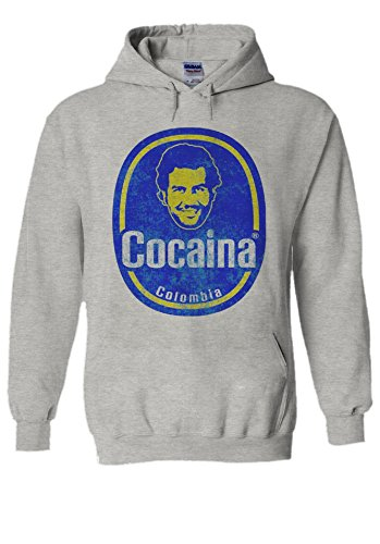 Pablo Escobar Colombia Cocoina Novelty Grey Men Women Unisex Hooded Sweatshirt Hoodie-L