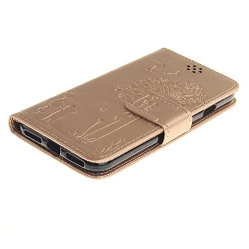 iPhone 7Cas, iPhone 7étui en cuir, toyym Pretty pissenlit Lover Premium Étui portefeuille à rabat en cuir pour iPhone 7avec béquille et 4S et, ultra slim folio Étui de protection style livre pour A doré