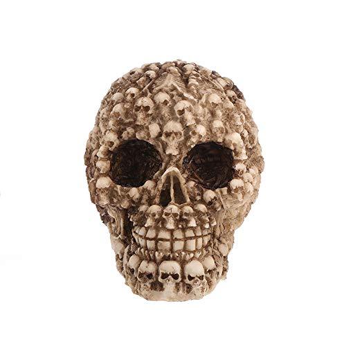 elecfan Halloween Totenkopf Skull, Halloween Skull Human Skull Model Halloween Dekoration Party Halloween Bar Dekoration Haunted House Halloween Deko Grusel Dekoration Skull Statues,A07
