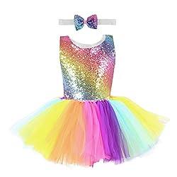 Yanhoo Karneval Mädchen Ballettkleid Pailletten Bunt Regenbogen Rock Prinzessin Ballett Tutu Kinder Tanzkleid Ballettkleidung Stirnbänder Outfits