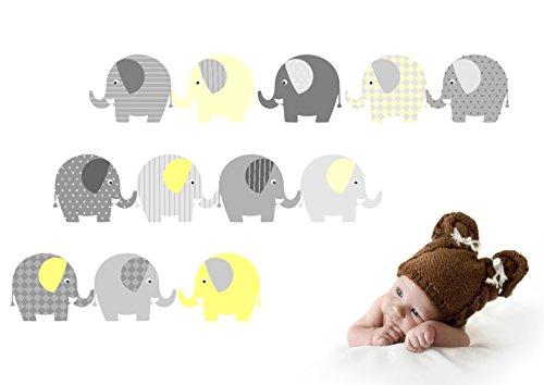 Wandtattoo Elefanten (Gelb) Wandaufkleber fürs Kinderzimmer, Babyzimmer, Baby Mädchen Junge von Jabalou