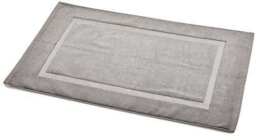 AmazonBasics Badvorleger mit rechteckiger Bordüre, Grau, 100% Baumwolle (1.200 g/m²), 51 x 79 cm
