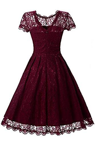 Adodress Elegantes Frauen Kleid Spitze Kleid CocktailKleid Knielanges Weinlese 50s Hochzeitsfest Ballkleid Wine rot