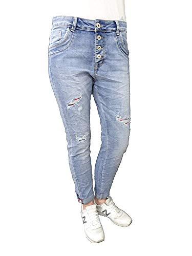 Karostar by Lexxury Denim Stretch Baggy-Boyfriend-Jeans Boyfriend 4 Knöpfe offene Knopfleiste weitere Farben (3XL-46, Destroyed Karo) Destroyed Boyfriend-jeans