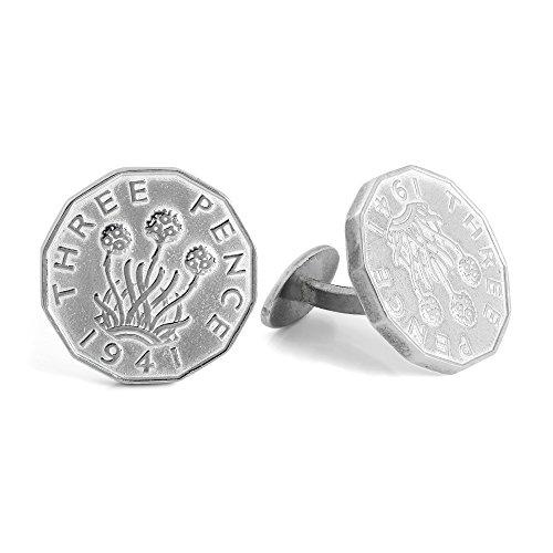 """Boutons de Manchette """"Threepence"""" Monnaie Anglaise en Argent 925/1000 - Fermeture Fixe"""