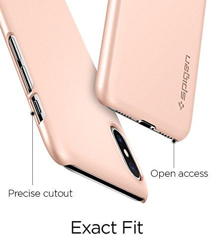 iPhone X Hülle, Spigen® [Thin Fit] Passgenaue Slim Hart PC Hardcase Schale Schlanke Handyhülle Schmal Schutzhülle für iPhone X Case Cover TF Blush Gold