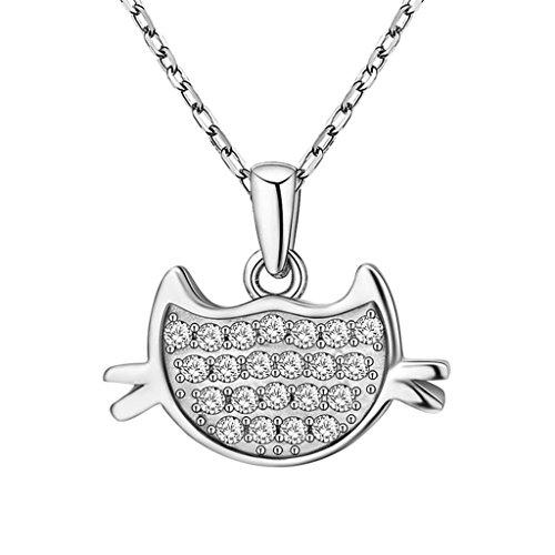 ilber Kette Damen Halskette Silber Zirkonia Katze Anhänger (Chihuahua Elefant Kostüm)