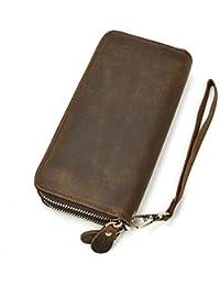 2b527d378d Pochette da uomo in vera pelle con cerniera doppia borsa con cerniera 4  portafoglio intercambiabile con