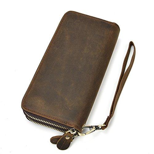 Herren Echtleder Clutch Bag Doppel-Reißverschluss Geldbörse 4 Interlayer Zip-Around Wallet (Braun) (Herren-doppel-reißverschluss-geldbörse)