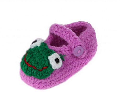 Smile YKK Baby Krabbelschuhe Gestrickte Schuhe flauschige Länge 11 cm Panda Blau Frosch Violett C