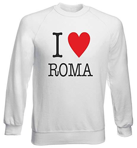 T-Shirtshock Rundhals-Sweatshirt fur Mann Weiss T0020 I Love Roma (I Pullover Love Roma)