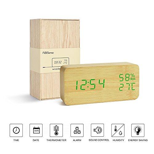 FIBISONIC Holz LED-Design Digital Wecker Datum Temperatur Feuchtigkeitsanzeige Sound-Sensor Wecker 3 Stufen LED Helligkeit Bambus Grün