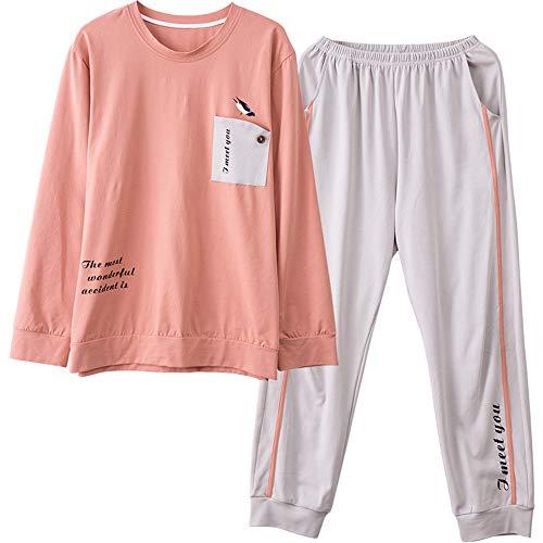 Mmllse Paar Pyjamas Herbst Baumwolle Langärmelige Nette Männer Und FrauenKönnen Lässig 3XL Männer Tragen