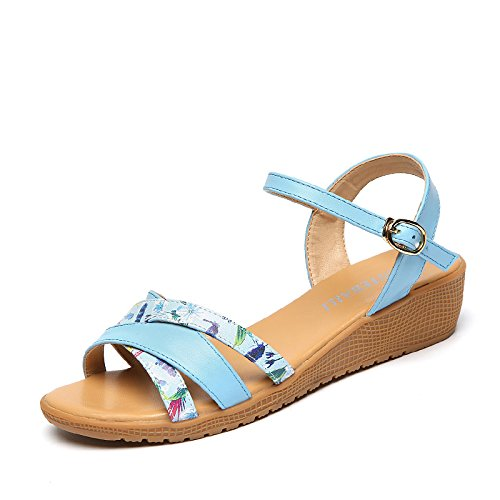 Sommer Damen Mode Schuhe High Heel Sandalen, 36 Grau Blue