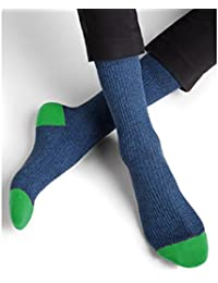 BLEUFORÊT - Chaussettes coton bicolores à côtes - Vert, 43/46