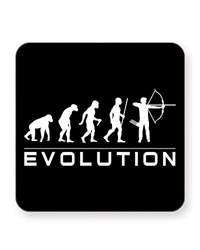 Evolution of an Bogenschießen - Darwin - Evolution of Man - Getränkeuntersetzer - einzeln oder als 4er Pack - quadratisch oder rund, SQUARE Individual