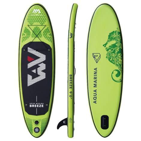 Air Breeze Marine (Aqua Marina Breeze SUP Stand Up Paddle Board (Grün Board + Paddel + Pumpe + Rucksack + Tasche))