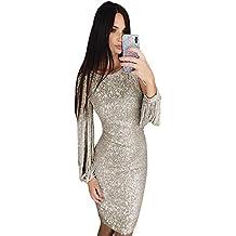 9fc808da81 ... de las mujeres Lentejuelas cuello redondo con flecos vestido delgado de  manga larga Vestido de fiesta Swing para mujer ( Color   Plata