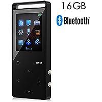 Lettore di Musica Digitale MP3 Bluethooth da16 GB con 50 Ore di Riproduzione,Un tasto per interrompere & un tasto per registrare, Supporta Fino a 64 GB, Hi-Fi, Radio FM e Audiolibri Disponibili, con Funzione Segnalibro