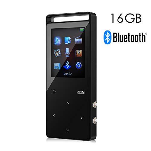 16GB Bluethooth Reproductor de Música Digital MP3 con 50 horas de Reproducción,Un boton para bloquear & un boton para grabar, Soporta hasta 64GB,HiFi,Radio FM y Audio Libro con Funciones de Marcador Disponible