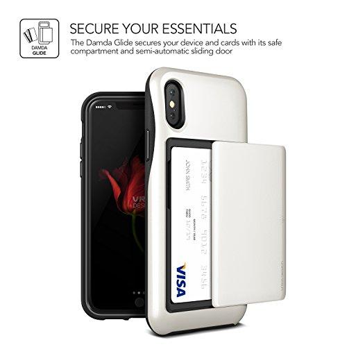 iPhone X Hülle, VRS Design® Schutzhülle [Silber] Schlagfesten Case Kratzfeste Stoßsichere Handyhülle Halbautomatik Schiebetür mit Kartenfach [Damda Glide] für iPhone X Weiß