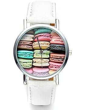 JSDDE Uhren,Fashion Damen Candy Farbe kein-Zifferskala Armbanduhr Macarons Zifferblatt Damenuhr Analog Quarzuhr...