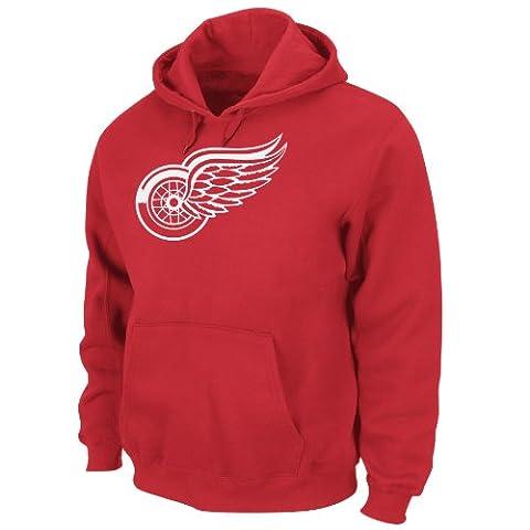 NHL Men's Detroit Red Wings Heat Seal Long Sleeve Hooded Fleece Pullover (Athletic Red, Medium)
