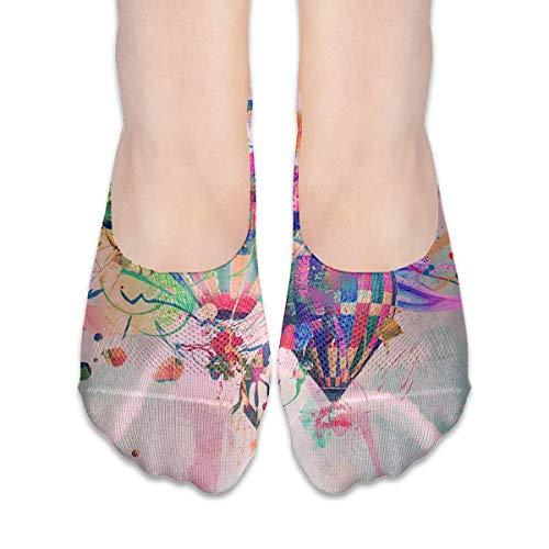 Xdevrbk No Show Socks Abstract Hot Air Balloon Low Cut Liner Socks Flat Boat Liner for Women - Farbton Cotton Liner