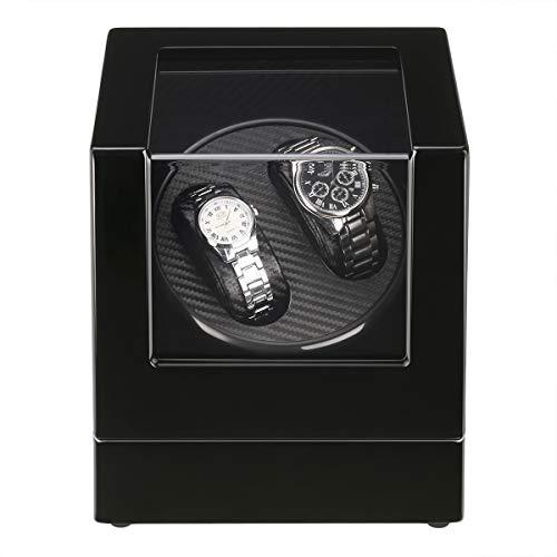 FLOUREON Uhrenbeweger Watch Winder für 2 Uhren Uhrenvitrine Uhrenbox Rectangle Mute Automatische Uhrenbeweger Laufleise • Sichtfenster • Elegantes Design • Schwarze Samtkissen