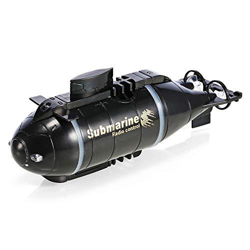 ELVVT Mini RC U-Boot Schnellboot Modell 122 * 33 * 46mm Schöne Und Klassische Fernbedienung Boot Spielzeug Weihnachten Geburtstagsgeschenk Für Kinder Und Erwachsene (Color : Black)