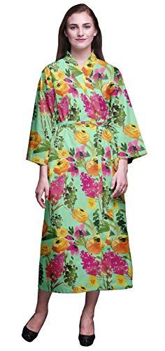 Bimba Pastell-Minze Blume Blätter & Ranunkeln Bedruckte Crossover-Roben Brautjungfer Immer bereit Shirt Kleider Bademäntel für Frauen XL - Minze Kleid Frauen Shirt
