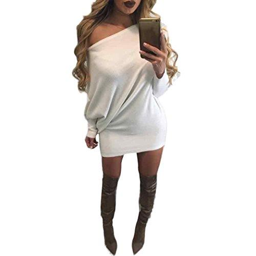 Koly_Vestito sottile Maglione senza bretelle di modo che lavora a maglia delle donne (s, bianca)