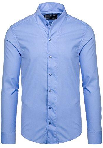 BOLF Herren Langarm Herrenhemd Figurbetont Freizeit Slim 5702 Hellblau