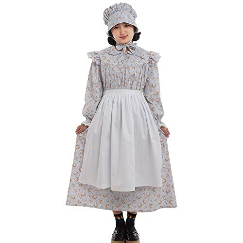GRACEART Mädchen Viktorianisch Pioneer Kolonial Kostüm Prairie Kleid 100% Baumwolle (Grau, US-8)