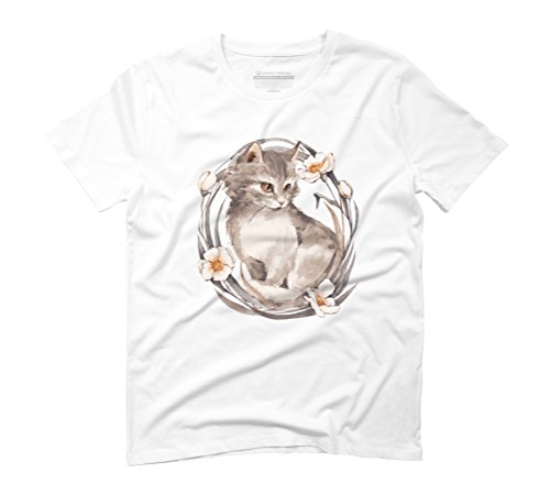 Kitten and flowers Men's Graphic T-Shirt - Design By Humans White