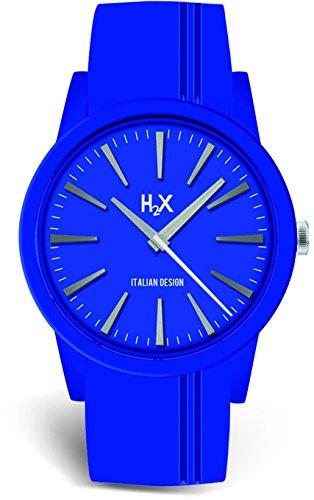 H2 x SB399DB1 Montre à quartz pour femme Bracelet en silicone bleu