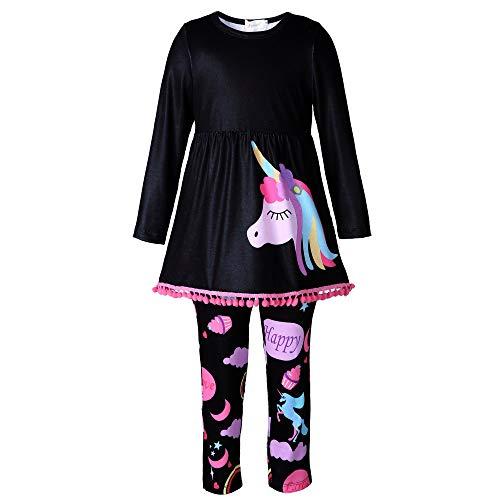 Mooler Mädchen Einhorn Print schwarz Freizeit tragen, Tops, Leggings, Schal, 3Pcs für 6 Jahre