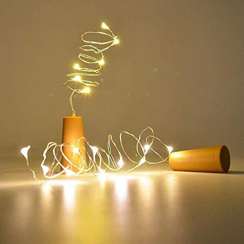 6 x Korken mit Lichterkette für Deko Glasflaschen, die warmweiße LED Lichter ergeben eine...