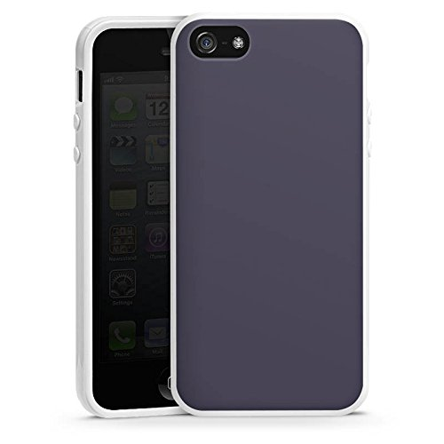 Apple iPhone 5s Housse Étui Protection Coque Gris sombre Gris Gris Housse en silicone blanc