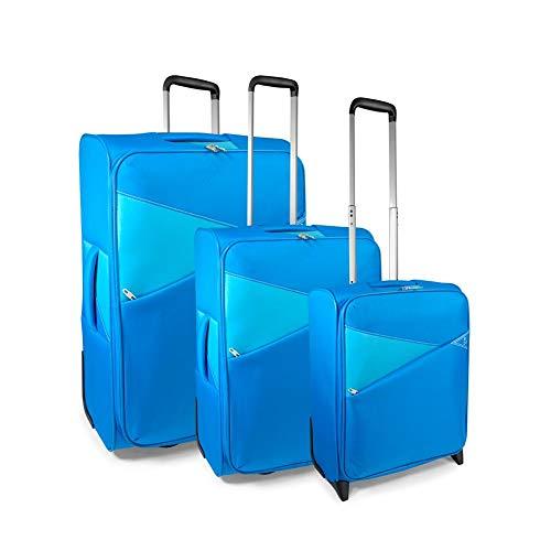 Roncato set 3 trolley g+m+c 2 w thunder valigia, 73 cm, 122 liters, blu (azul)
