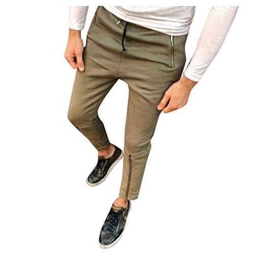Mode männer nehmen beiläufige Sport reinen Farbe gesponnene Taschen Fuß Hosen ab Fashion Personality Casual Sports Pants Pocket Zipper Beam Trousers Dunkelgrau Schwarz Armeegrün Grau M/L/XL/XXL/3xL