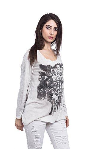 Abbino 15524 Shirts Tops Damen - Made in Italy - Viele Farben - Frühjahr Herbst Sommer Übergang Damenshirts Damentops Viskose Bedrucken Locker Lässig Langarm Sexy Sale Freizeit Elegant Beige (Art. 12968)