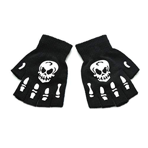 MIKI-Z Unisex Erwachsene Halloween Skeleton Skull Half Finger Handschuhe Luminous Winter Mittens