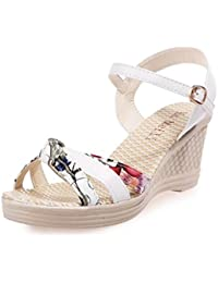 Indexp Knot Wedges Ankle Flat Sandals, Women Teens Girls 8cm Crocodile Texture Artificial Leather Buckle Cross Straps Platform Summer Beach Party Casual Shoes