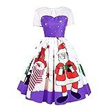 SEWORLD Weihnachtskatzen Damen Elegant Abendkleid Weihnachten Party Kleid Mesh Brautkleid Retro Weihnachtsmann Drucken Spitze Abendkleid(X3-violett,EU-36/CN-L)