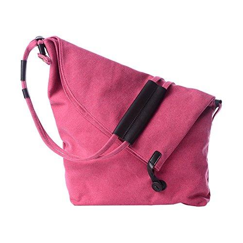 VRIKOO Retro Canvas Crossbody Hobo Bag Unisex Vintage Satchel Messenger Shoulder Bags for Working Shopping School (Rose Red) Rosa Rossa