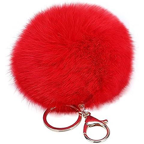 Demarkt Llavero con la novedad de la felpa del conejo lindo artificial Piel Llavero de la llave del coche del anillo del bolso del monedero del encanto()