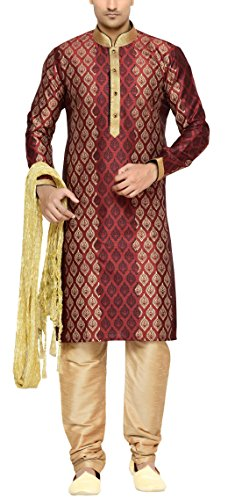 Indian Poshakh Men's Silk Sherwani (1204_38, 38, Red and Beige)